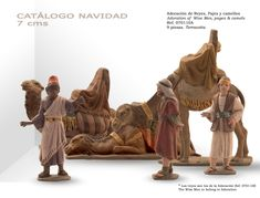 PAJES Y CAMELLOS. Figuras de belén/pesebre, de terracota policromada, de 7 cm. Autor José Luis Mayo Lebrija.
