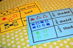 Easy fraction game you can make. Students use a string to match the fraction in the left column to the correct word form in the right column. Click the image for ideas.