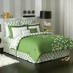 Green bedding. Lattice bed skirt.