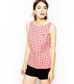 Fred Perry Sleeveless Gingham Top // Red gingham printed tank top