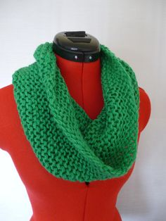 green scarf, knitted scarf, knitted cowl, woodland colors, garter stitch scarf, chunky scarf, chunky cowl, green cowl, unisex scarf by UniquelySam on Etsy