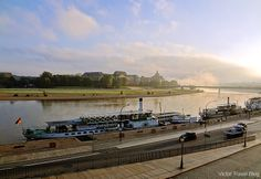 Brühlsche Terrasse. Dresden, Germany. The Saxon Shipping Company wharf is still located on the embankment of Bruhl's Terrace.
