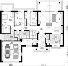 Projekt domu Willa Parkowa 5 173,6 m2 - koszt budowy - EXTRADOM Good House, My House, Architectural Floor Plans, House Furniture Design, Best House Plans, Small House Design, Planer, Architecture Design, Sweet Home