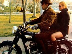 Ann Marget & Anthony Quinn on a Triumph motorcycle