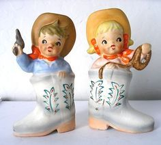 Vintage Cowboy Cowgirl in Boots Salt Pepper Shakers