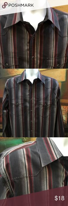 Wrangler men's western shirt Wranglers men's western shirt long sleeve's black pearl snap buttons black with gray stripe  Preowned no rips tears or stains Wrangler Shirts Casual Button Down Shirts