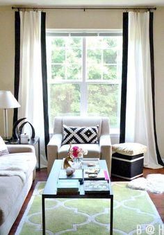 Pair, Custom made linen drapes, vertical color block, rod pocket, flat panels, contrast trim, border, white black all colors by KirtamDesigns on Etsy https://www.etsy.com/listing/262466937/pair-custom-made-linen-drapes-vertical