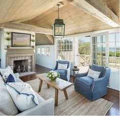 Simple coastal living room with skirted furniture