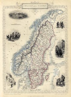 Antique map print  Vintage map of Sweden and by AncientShades
