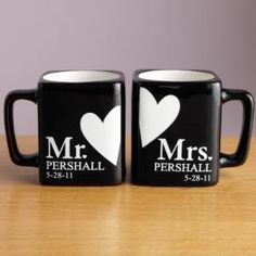 """Mr. and Mrs. Black Mug Set"" .. I would love for hubby and I to have these!"