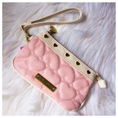 Betsey Johnson Wristlet NWT pink & Ivory weistlet with gold heart studs and a removable wrist strap. Gold Betsey plate with crystals. Betsey Johnson Bags Clutches & Wristlets