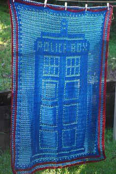 Items similar to Tardis Blue hand crochet POLICE BOX Doctor Who blanket afghan lapghan throw on Etsy Hand Crochet, Knit Crochet, Crochet Style, Crochet Afghans, Filet Crochet, Crochet Tardis, Knitting Projects, Crochet Projects, Tardis Blue