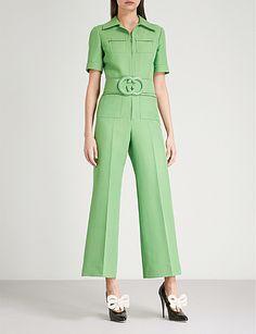 ec19e280b84 Gucci Belted Wide Leg Wool & Silk Cady Jumpsuit   Glamour   Jumpsuit ...