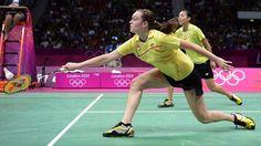 Alex Bruce & Michelle Li in the Women's Doubles Badminton Bronze Medal match Latest Sports News, Badminton, Nhl, Athlete, Basketball Court, Canada, Bronze, Colours