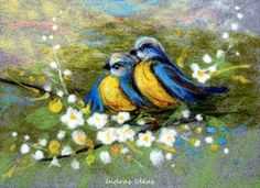"Spring birds ~ needle felted art ~ This is an original 3d needle felted and embroidered picture with size of 9.4"" x 6.7""  Absolutely unique! Entirely done by hand! http://www.etsy.com/listing/95550432/spring-birds-needle-felted-art"