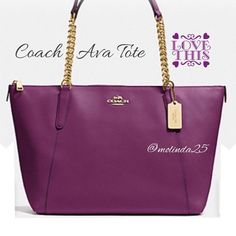 FLASH SALECoach Ava Chain Tote  100% Coach Ava Chain Tote in Crossgrain and color: plum. 1st picture is the actual color. Inside zip, cell phone & multifunction pockets. Zip-top closure fabric lining. Perfectly polished chain hardware.  No trades or PP. REASONABLE OFFERS ARE WELCOME  MSRP: $395 + Tax Coach Bags Totes