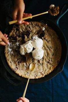 Behold: the skillet salted chocolate chip cookie, courtesy of Not Without Salt blogger Ashley Rodriguez. Get the recipe on the #AnthroBlog #Anthropologie