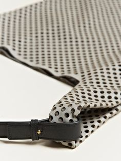 Detail - Jil Sander market bag, made from laser cut perforated calf leather