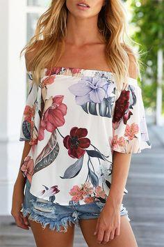 Sexy Off Shoulder Random Floral Print T-shirt
