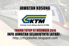 Jawatan Kosong Keretapi Tanah Melayu Berhad (KTMB) - 07 Disember 2016  Jawatan kosong terkini di Keretapi Tanah Melayu Berhad (KTMB) Disember 2016. Permohonan adalah dipelawa daripada warganegara Malaysia yang berumur tidak kurang daripada 18 tahun ke atas pada tarikh tutup iklan jawatan dan berkelayakan untuk mengisi kekosongan jawatan kosong terkini di Keretapi Tanah Melayu Berhad (KTMB) sebagai :1. ENVIRONMENTAL MONITORING EXECUTIVE RISK MANAGEMENT & OSHENTarikh tutup permohonan 07…