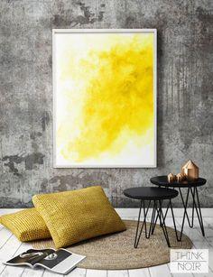 Yellow Watercolor Wall Art / Modern Wall Poster / Watercolor Wall Mural / Watercolor Wall Decor / Instant Download Print