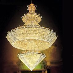 iron golden finish large crystal chandelier ESLC0004 - Large Chandelier - Chandeliers - Eshine Large Chandeliers, Lamp Light, Lamps, Ceiling Lights, Lighting, Home Decor, Lightbulbs, Decoration Home, Light Fixtures
