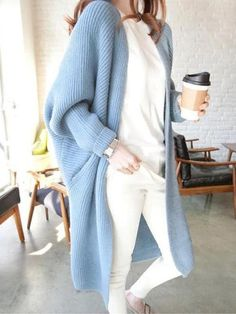 Blue Pockets V-Ausschnitt Dolman Sleeve Oversize Cardigan Sweater - Pullover Oversized Cardigan Outfit, Blue Sweater Outfit, Long Sweater Outfits, Long Duster Cardigan, Blue Cardigan, Sweater Cardigan, Oversized Sweaters, Pullover Sweaters, Striped Sweaters