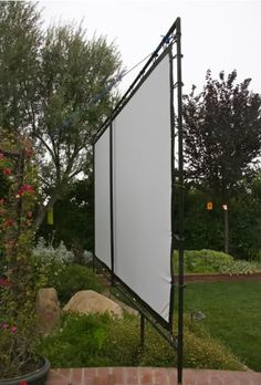 Outdoor movie screen with tarp & PVC Backyard Movie Theaters, Backyard Movie Nights, Outdoor Movie Nights, At Home Movie Theater, Outdoor Movie Screen, Outdoor Cinema, Outdoor Theater, Backyard Projects, Outdoor Projects