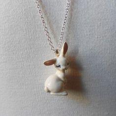 Eyelash Bunny Porcelain Necklace: