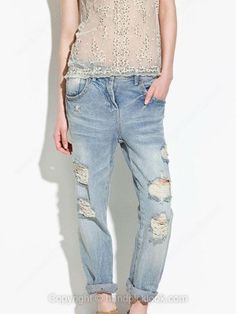 Light Blue Bleached Ripped Loose Jeans -$33.39