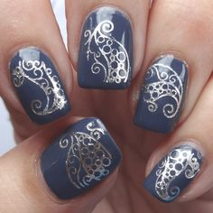 Silver swirl nail art decals.  Really easy to apply yet stunning when on your nails over a dark varnish.  Arabian Swirl (Silver) Nail Water Decals | Sparkly Nails