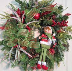 XL+Elf+Christmas+Door+Wreath+Outdoor+Holiday+by+LadybugWreaths,+$149.97