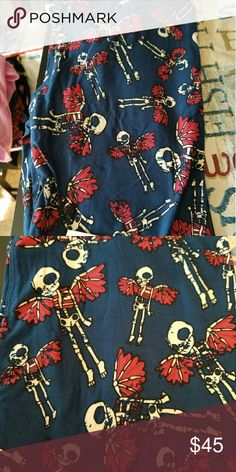 LULAROE Fairy Skeltons TC Lularoe Fairy Skeltons.  Teal blue with burgundy.  I also have 1 pair in OS. I over did Halloween. Pants Leggings