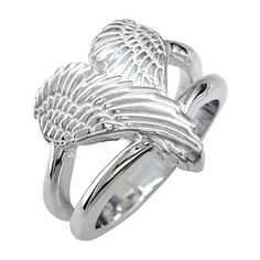 Jewelry Trends Sterling Silver Angel Wing Heart Ring Size 6