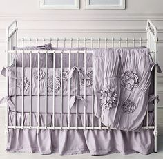 Washed Appliquéd Fleur & Vintage-Washed Percale Nursery Bedding Collection from RH. Pink or lavender for Emma's nursery?