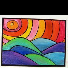 Cool color art projects warm and cool color project with value reverse colors and use with Color Art Lessons, Warm And Cold Colours, 7 Arts, 2nd Grade Art, School Art Projects, Spring Art, Art Lessons Elementary, Art Classroom, Art Plastique