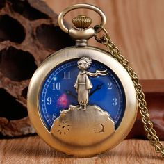 Exquisite The Little Prince Design Blue Planet Pocket Watch Necklace Chain Relogio De Bolso Clock Childhood Xmas Gift