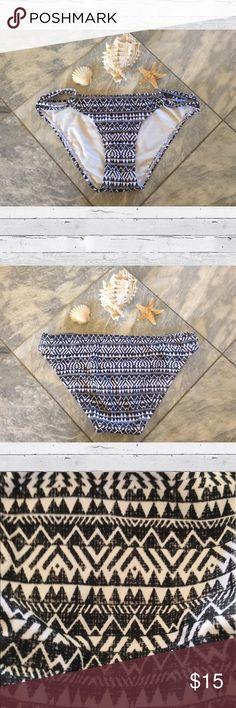 CLEARANCE Tribal Bikini Bottom Tribal bikini bottoms in dark navy/black, white & gray. Allover tribal pattern. Slit waistband.                                   • Nylon/Spandex for the right amount of stretch • Lined for modesty and comfort.                               •Brand new never worn.                                                 •Size X-Small. Xhilaration Swim Bikinis