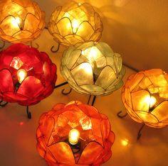 カピス貝を花の形に組み立てたランプ。色違いでいくつも並べたい! https://room.rakuten.co.jp/room_jp/1700005301815419?scid=we_rom_pinterest_official_20150618_r1
