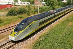 Eurostar AGV Alstom high speed train exterior white yellow black