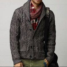 Gray Wool Cable Knit Cardigan. Men's Fall Winter Fashion.