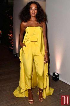 Solange's Yellow Cape Pantsuit