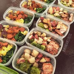 Meal prep this week includes... Breakfast  roasted japanese sweet potatoes, sautéed kale/spinach, scrambled eggs, and chorizo.  Lunch  Roasted red potatoes, grilled organic chicken thighs, roasted brussel sprouts. Will also have a serving of avocado.  Ready for the week