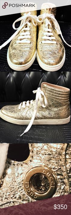Gucci Gold Sneakers Gucci Gold High top sneakers, women's size 10 men's size 8 worn once great condition Superfly Gucci Shoes Sneakers