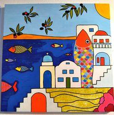 GREECE. Pop art acrylic painting. By Anna Baramati.