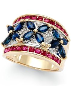 Sapphire (3 ct. t.w.), Ruby (1-1/10 ct. t.w.) and Diamond Accent Ring in 14k Gold