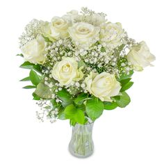 Nothing can be more elegant than the finest large- headed white roses, picked up just for you. Our exclusive bouquet featuring white roses hand-tied with gypsophila and aspidistra leaves will leave you breathless. Flower Delivery Service, Same Day Flower Delivery, Christmas Flowers, Winter Flowers, Early May Bank Holiday, Gypsophila, Bunch Of Flowers, White Roses, Flower Arrangements