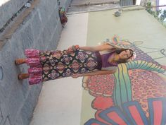 Vestido Hippie Largo VinoBeige. Moda Mexicana.