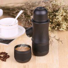 #latteart Homgeek Mini Portable Compact Manual Espresso Maker Black Coffee Maker Hand Operated Coffee Machine Cappuccino For Home
