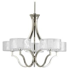 Framed by a gently curving open silhouette and polished nickel finish, this chic chandelier lends a touch of understated elegance.  ...